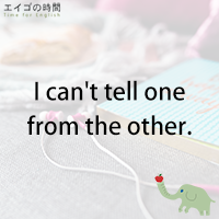 ♪I can't tell one from the other. - 見分けがつかない。
